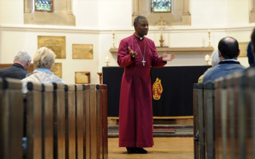 The Archbishop of Cape Town, Dr Thabo Makgoba, at a thanksgiving service held by Nayati Shamelin Moodliar's South African family at the chapel of the Bishop's Diocesan College in Rondebosch, South Africa, on May 3, 2012. The twelve year-old Nayati was abducted in India, but has been found safe and is back with the family. Nayati's parents are South African. (Photo by Gallo Images / Foto24 / Nasief Manie)