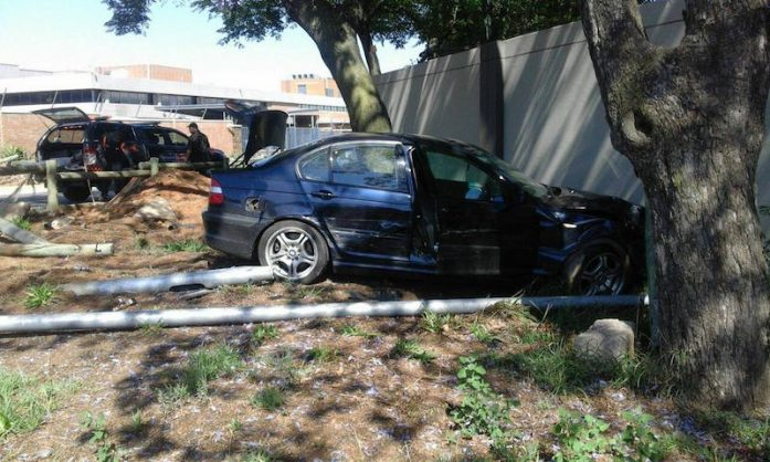 The BMW crashed into a residential wall in Riverclub in the north of Johannesburg. Picture: Emer-G-Med.