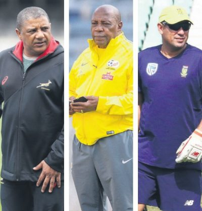Springbok coach Allister Coetzee, left, Bafana Bafana coach Shakes Mashaba, centre, and Proteas coach Russell Domingo will all be hoping for victories this weekend. Pictures: Gallo Images