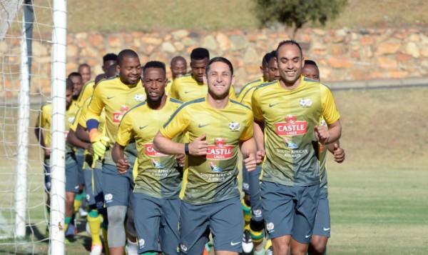 Bafana Bafana training at Marks Park. (Pic Sydney Mahlangu/ BackpagePix)