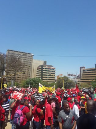 file picture. Workers protesting against labour brokers.
