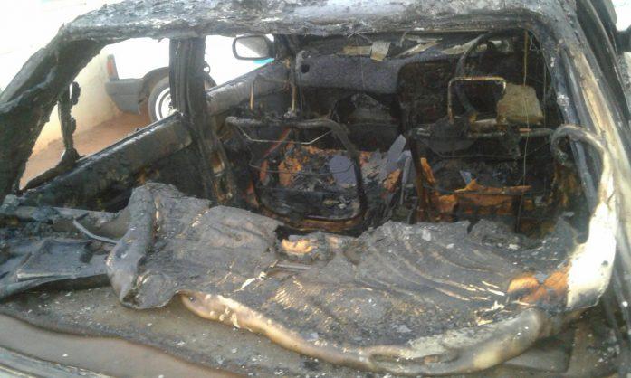 The boyfriend's burnt car