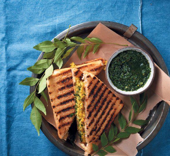 Mumbai potato masala sandwich with coriander and green chilli chutney.