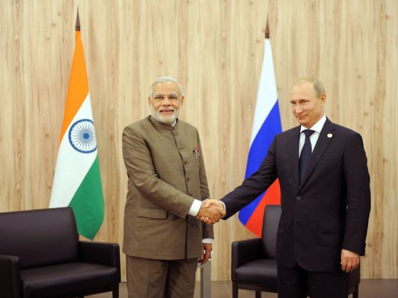Indian Prime Minister Narendra Modi, left, and Russian President Vladimir Putin sign a multi-billion dollar energy and defence pacts at a Brics summit in 2016.