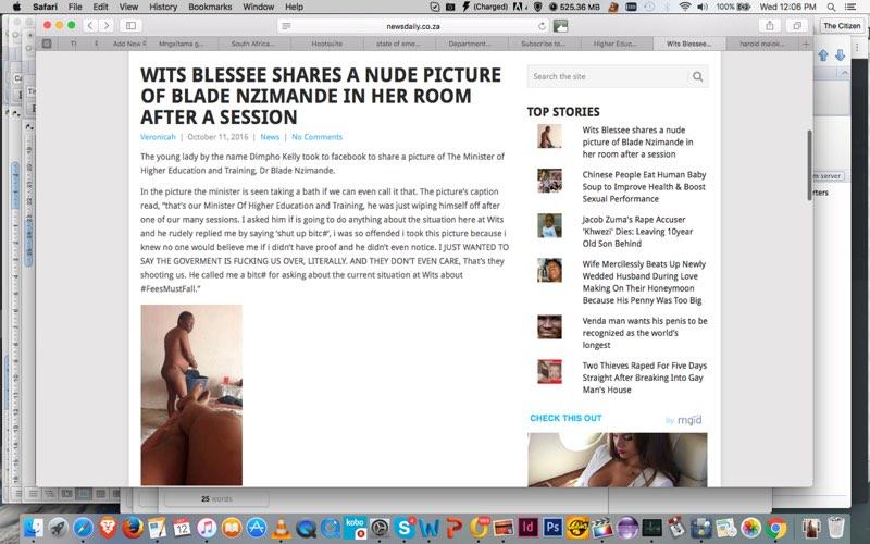 A screenshot of the 'clickbait' story on newsdaily.co.za.