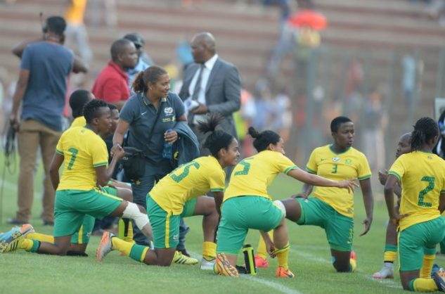 Desiree Ellis with Banyana SA players during the 2016 FIFA U/20 Womens World Cup Qualifier match between South Africa and Zambia at Makhulong Stadium. (Photo by Lefty Shivambu/Gallo Images)