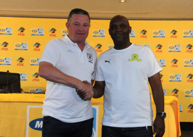 Coach Gavin Hunt and Coach Pitso Mosimane during the Mamelodi Sundowns and Bidvest Wits joint press conference at PSL Offices. (Photo by Gallo Images)