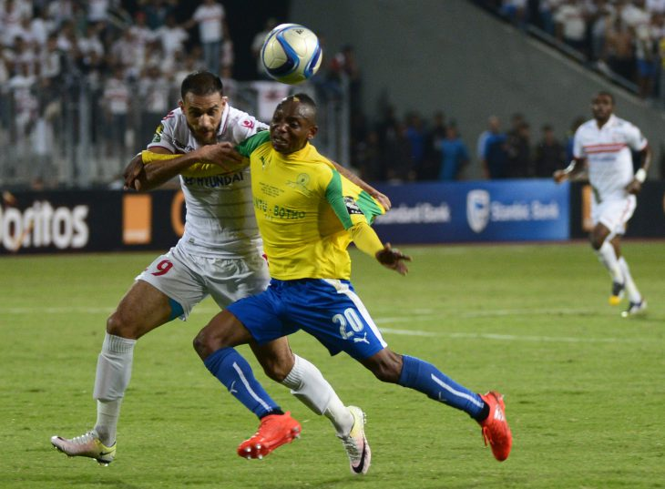 ALEXANDRIA, EGYPT - OCTOBER 23: Khama Billiat of Mamelodi Sundowns and Ahmed Mohamed Abdalla El-Sayed Nouh of Zamalek during the CAF Champions League 2nd Leg final match between Zamalek and Mamelodi Sundowns at Borg El Arab Stadium on October 23, 2016 in Alexandria, Egypt. (Photo by Gallo Images)
