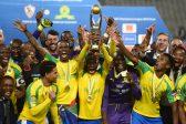 Mamelodi Sundowns celebrate during the CAF Champions League 2nd Leg final match between Zamalek and Mamelodi Sundowns at Borg El Arab Stadium in Alexandria. (Photo by Gallo Images)