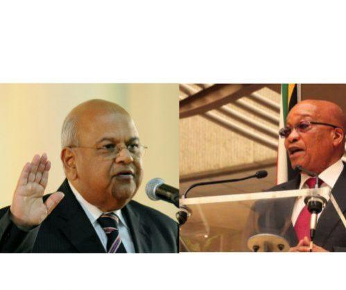 Finance minister Pravin Gordhan and president Jacob Zuma.