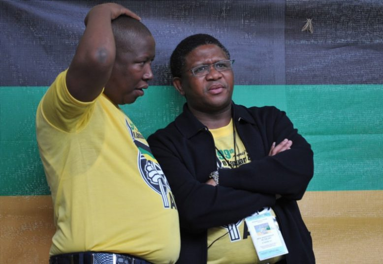ANCYL leader Julius Malema and Sports and Recreation minister Fikile Mbalula listen to speeches during the ANC's 99th birthday party held at the Peter Mokaba Stadium in Polokwane, South Africa on 8 January 2011. Picture: Gallo Images