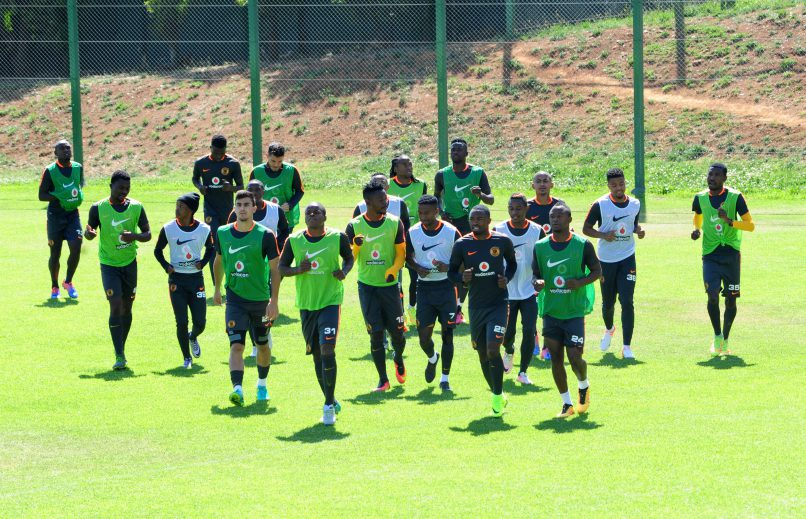 General view of Kaizer Chiefs warming up before training at Naturena.  (Aubrey Kgakatsi/BackpagePix)