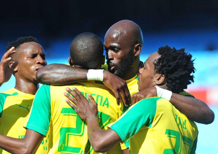 Anthony Laffor of Mamelodi Sundowns celebrates his goal with his teammates (Samuel Shivambu/Backpagepix)