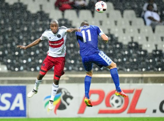 Thabo Matlaba of Orlando Pirates challenged by Jeremy Brockie of SuperSport United . (Samuel Shivambu/BackpagePix)