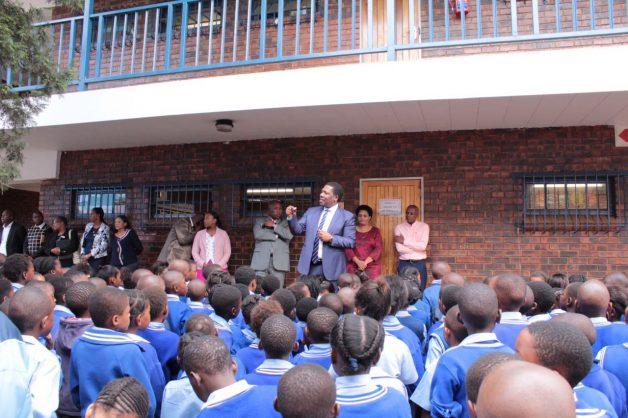 Education MEC Panyaza Lesufi at Paul Mosaka Primary School. Image. Soweto Urban