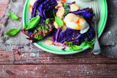 Recipe: Roasted red cabbage wedges with herb oil and poached eggs