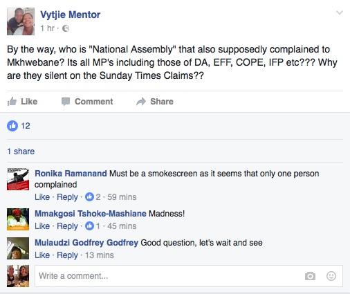 A screenshot of Vytije Mentor's Facebook post. Picture Facebook.