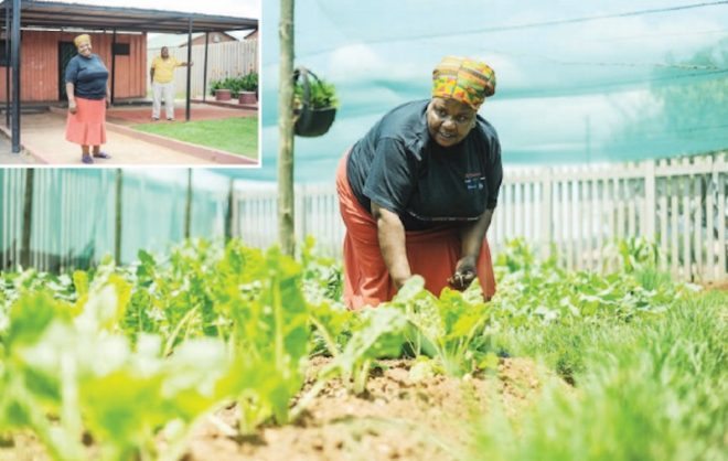 Councillor Betty Ringane inside the community vegitable garden she manages at Brazaville in Atridgeville, west of Pretoria, yesterday. Ringane was accused by EFF members of running a carwash using municipal resources. Picture: Alaister Russell.