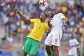 POLOKWANE, SOUTH AFRICA - NOVEMBER 12:  Eric Mathoho of South Africa and Mame Diouf during the 2018 FIFA World Cup Qualifier match between South Africa and Senegal at Peter Mokaba Stadium on November 12, 2016 in Polokwane, South Africa. (Photo by Lefty Shivambu/Gallo Images)