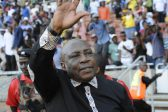 POLOKWANE, SOUTH AFRICA - NOVEMBER 12: Head coach Shakes Mashaba celebrates with fans after the 2018 FIFA World Cup Qualifier match between South Africa and Senegal at Peter Mokaba Stadium on November 12, 2016 in Polokwane, South Africa. (Photo by Philip Maeta/Gallo Images)