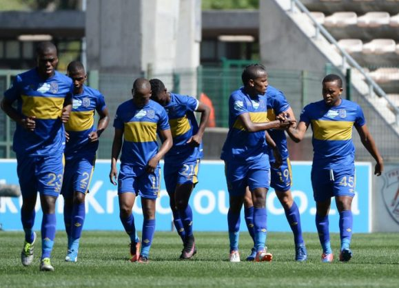 Cape Town City FC celebrating during the 2016 Telkom Knockout semifinal between Cape Town City and Free State Stars at Athlone Stadium. (BackpagePix)
