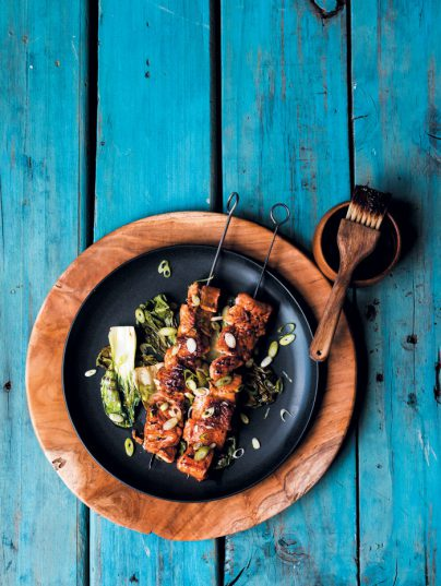 Recipe: Glazed trout kebabs on a bed of bok choi.