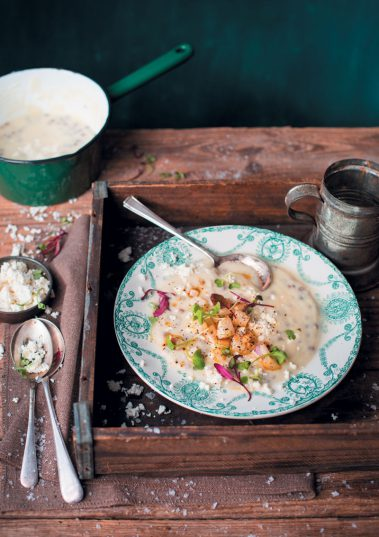 Creamy turnip, cauliflower and lentil soup with ricotta.