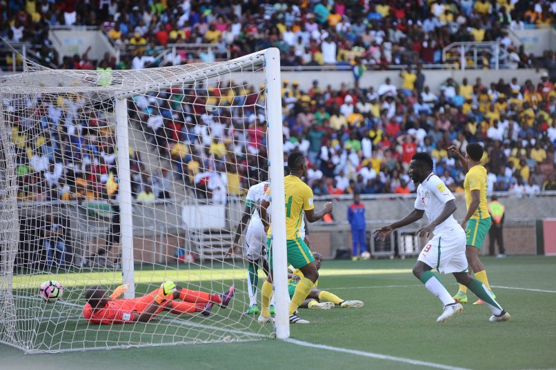 POLOKWANE, SOUTH AFRICA - NOVEMBER 12: Cheikhou Kouyate scores a goal while Itumeleng Khune looks on during the 2018 FIFA World Cup Qualifier match between South Africa and Senegal at Peter Mokaba Stadium on November 12, 2016 in Polokwane, South Africa. (Photo by Lefty Shivambu/Gallo Images)