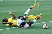 POLOKWANE, SOUTH AFRICA - NOVEMBER 12: Hlompho Kekana of South Africa and Sadio Mane of Senegal during the 2018 FIFA World Cup Qualifier match between South Africa and Senegal at Peter Mokaba Stadium on November 12, 2016 in Polokwane, South Africa. (Photo by Lefty Shivambu/Gallo Images)