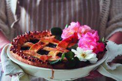 Recipe: Berry, rose and cherry lattice pie with cream cheese pastry