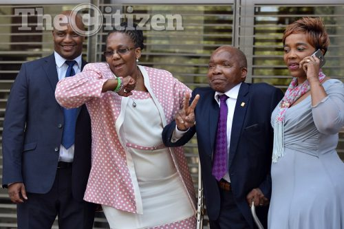 """Community Safety and Transport Management MEC Dr Mokgantshang """"Mpho"""" Motlhabane (L),former Transport Minister Dipuo Peters, Ntate Kompela and  Deputy Minister of Transport, Ms Sindisiwe Chikunga reacts to a Constitutional Court order, 9 November 2016, handing the eNaTIS system back to the department under the Road Traffic Management Corporation from private company Tasima following years of court battles. Picture: Nigel Sibanda"""