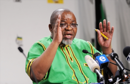 ANC Secretary-General Gwede Mantashe addresses the media after the party's National Executive Committee (NEC) meeting discussing a motion of no confidence in President Jacob Zuma on November 29, 2016 in Johannesburg, South Africa. Mantashe announced that the NEC did not support the call for President Zuma to resign. (Photo by Gallo Images / Daily Sun / Jabu Kumalo).