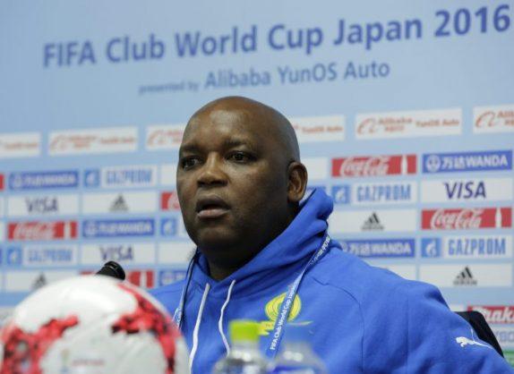 Mamelodi Sundowns' head coach Pitso Mosimane speaks during a news conference at Suita City Football Stadium in Suita, western Japan.  EPA/KIMIMASA MAYAMA