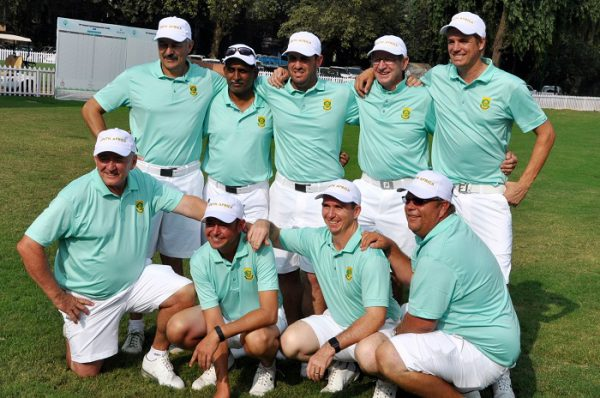 Victorious Team RSA won the inaugural Golf Test Series against India; credit SAGA.  Back, left to right – Francois le Roux, Morgan Phillips, Gerlou Roux, Jock Wellington (playing team manager) and Stefan Blommaert.  Front, left to right – Steve Williams, Shaun Stapleton, David Younge (assistant manager) and Josef Fourie.