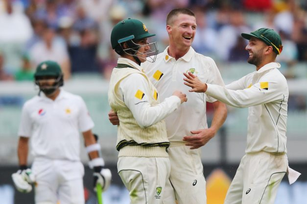 Jackson Bird delivered a crucial spell for Australia before rain intervened. Photo: Michael Dodge/Getty Images.