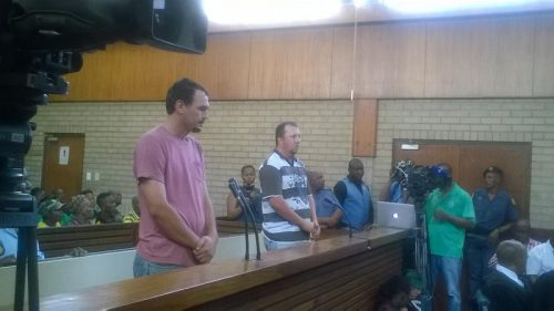Coffin assault accused, Theo Martins Jackson and Willem Oosthuizen, inside the Middleburg Magistrates Court in Mpumalanga. Pictures: Balise Mabona/ANA