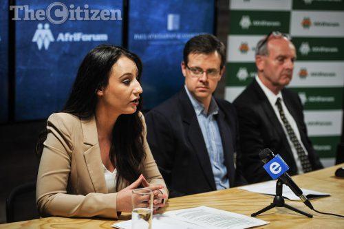 Moniques Taute, Ernst Roets and Paul O'Sullivan seen during a press briefing, 1 December 2016, Centurion, Pretoria. Picture: Jacques Nelles
