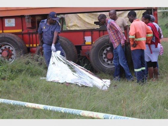 Community members asked to identify a man who was killed by a truck, during a service delivery protest this morning.