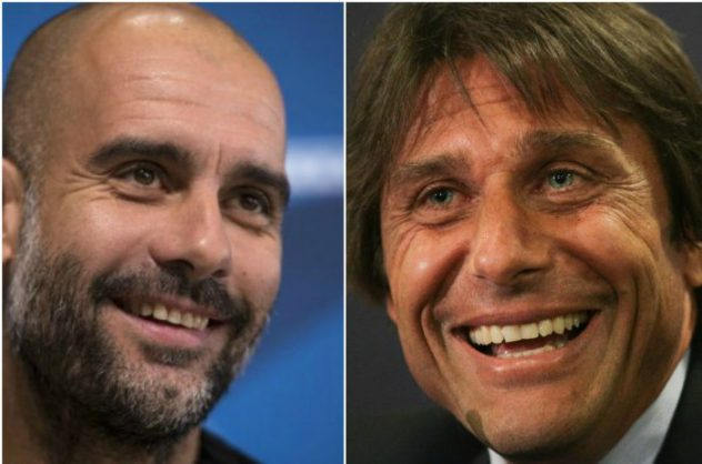 Manchester City manager Pep Guardiola (L) and Chelsea manager Antonio Conte (R).  AFP