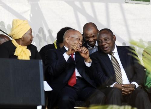 President Jacob Zuma, Cyril Ramaphosa and Nkosazana Dlamini-Zuma during the national Women's Day celebrations at the Union Buildings on August 09, 2016 in Pretoria, South Africa. (Photo by Gallo Images / Lefty Shivambu