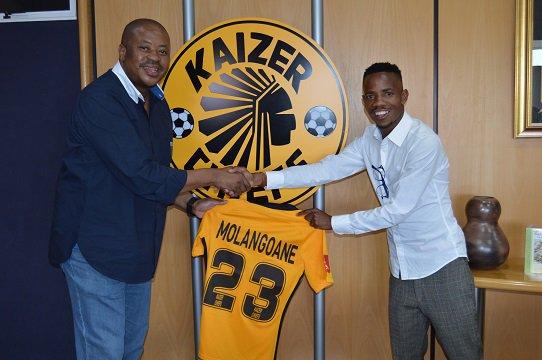 Joseph Molangoane with Chiefs football manager Bobby Motaung.