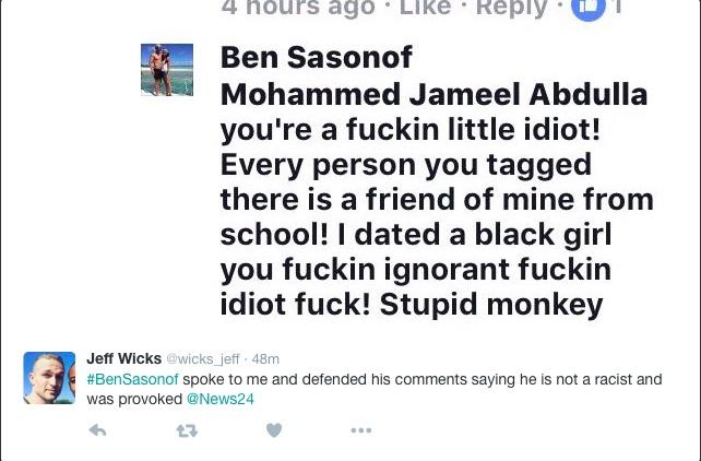 A screenshot of Ben Sasonof's Facebook posts. Picture: @wicks_jeff on Twitter