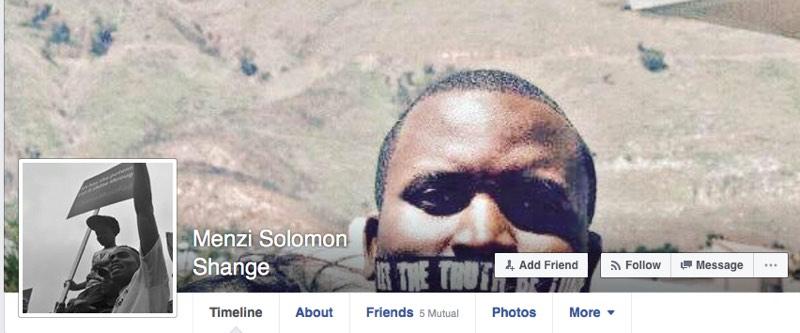 Menzi Solomon Shange's Facebook banner.