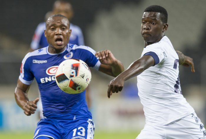 NELSPRUIT, SOUTH AFRICA - NOVEMBER 29:  Thuso Phala of Supersport Unitedand Sifiso Myeni of Bidvest Wits during the Absa Premiership match between SuperSport United and Bidvest Wits at Mbombela Stadium on November 29, 2016 in Nelspruit, South Africa. (Photo by Dirk Kotze/Gallo Images)