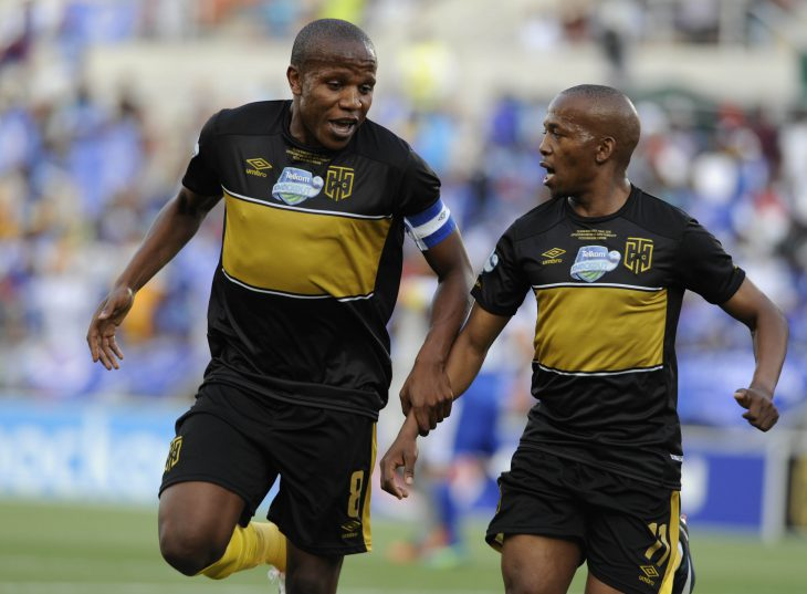 Aubrey Ngoma of Cape Town City celebrates with Lebogang Manyama after scoring a goal  during the Telkom Knockout Final match between SuperSport United and Cape Town City FC at Peter Mokaba Stadium.  on December 10, 2016 in Polokwane, South Africa. (Photo by Philip Maeta/Gallo Images)