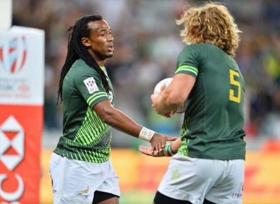 Two heroes. Cecil Afrika and Werner Kok were once again influential for the Blitzboks. Photo: Ashley Vlotman/Gallo Images.