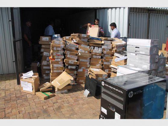 The stolen computer equipment that was recovered. (Photos: Riaan van Zyl)