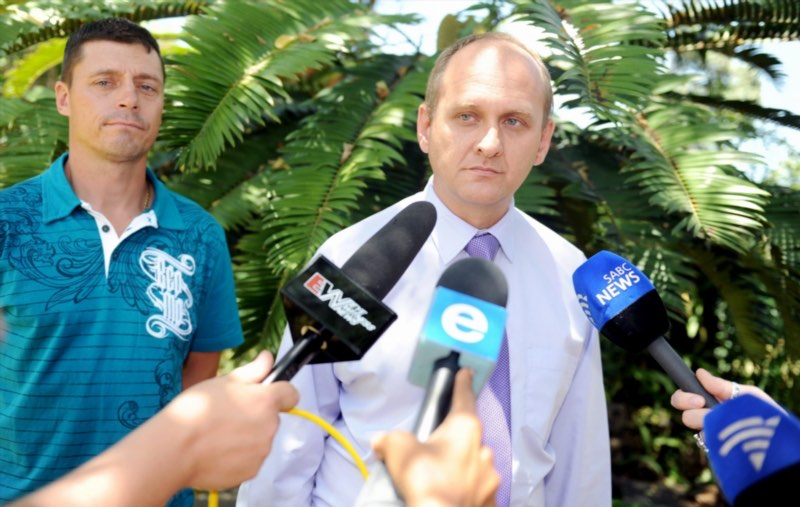 Warrant Officer Jannie Odendaal and Solidarity's Dirk Hermann after Odendaal filed charges of defeating the ends of justice, assault and reckless and negligent driving against Winnie Madikizela-Mandela and her bodyguard at the Brooklyn Police Station in Pretoria, South Africa on 11 February 2011. Picture: Gallo Images