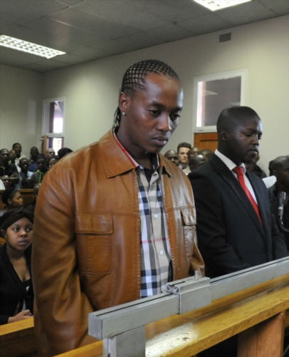 """Molemo """"Jub Jub"""" Maarohanye (L) and his co-accused Themba Tshabalala (R) were found guilty on four counts of murder and two of attempted murder at the Protea Magistrate's Magistrate Court on October 16, 2012 in Johannesburg, South Africa. (Photo by Gallo Images / City Press / Lucky Nxumalo)"""