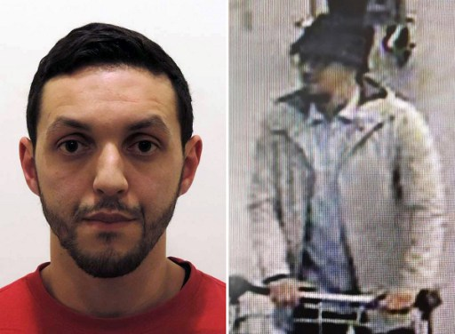 (FILES) This combo file pictures made on April 10, 2016 shows an undated file picture released on November 24, 2015 by Belgian federal police of Mohamed Abrini (L) and a screengrab of the airport CCTV camera showing a suspect of this morning's attacks at Brussels Airport, in Zaventem, pushing a trolly with suitcases. Paris attacks suspect Mohamed Abrini confessed on April 10, 2016 to being